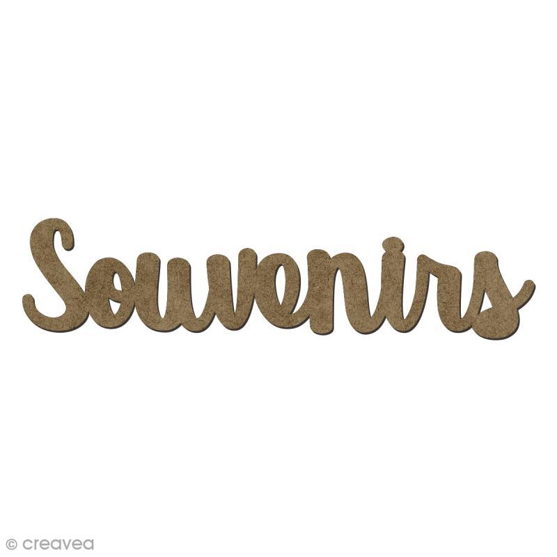 Forme en bois mots - Souvenirs - 6,5 x 1,5 cm - Photo n°1