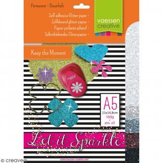 Papier pailleté adhésif A5 - Assortiment N°1 - 5 feuilles