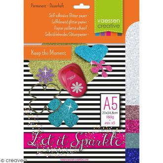 Papier pailleté adhésif A5 - Assortiment N°3 - 5 feuilles