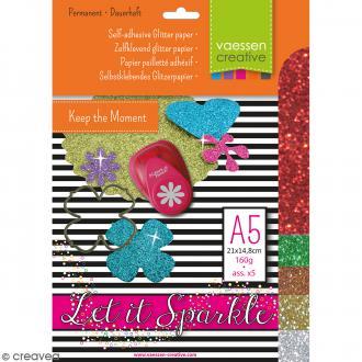 Papier pailleté adhésif A5 - Assortiment N°4 - 5 feuilles