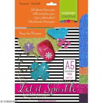 Papier pailleté adhésif A5 - Assortiment N°5 - 5 feuilles