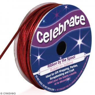 Cordon métallisé Celebrate - Rouge - 1,6 mm x 8 m