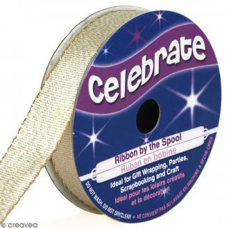 Ruban fancy Celebrate - Jaune clair effet pailleté - 13 mm x 5 m