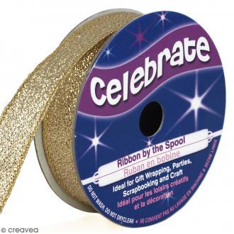 Ruban fancy Celebrate - Jaune doré effet pailleté - 13 mm x 5 m