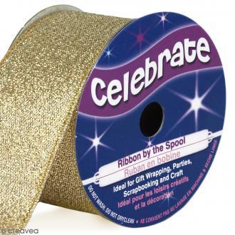 Ruban fancy Celebrate - Jaune doré effet pailleté - 26 mm x 4 m