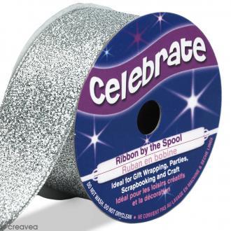 Ruban fancy Celebrate - Gris argenté effet pailleté - 26 mm x 4 m
