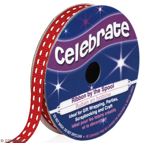 Ruban Celebrate à gros grains - Rouge - 6 mm x 5 m - Photo n°1