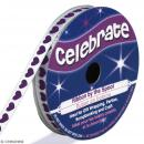 Ruban satin Celebrate - Petits coeurs violets - 6 mm x 4 m - Photo n°1