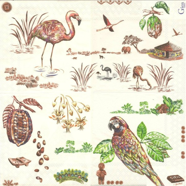 4 Serviettes en papier Route du Cacao Chocolat Format Lunch Decoupage Decopatch 8004CACLSE Gien - Photo n°2
