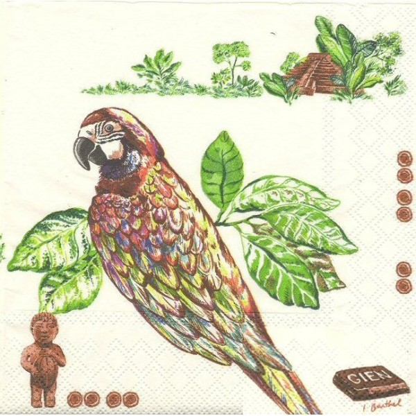 4 Serviettes en papier Route du Cacao Chocolat Format Lunch Decoupage Decopatch 8004CACLSE Gien - Photo n°1