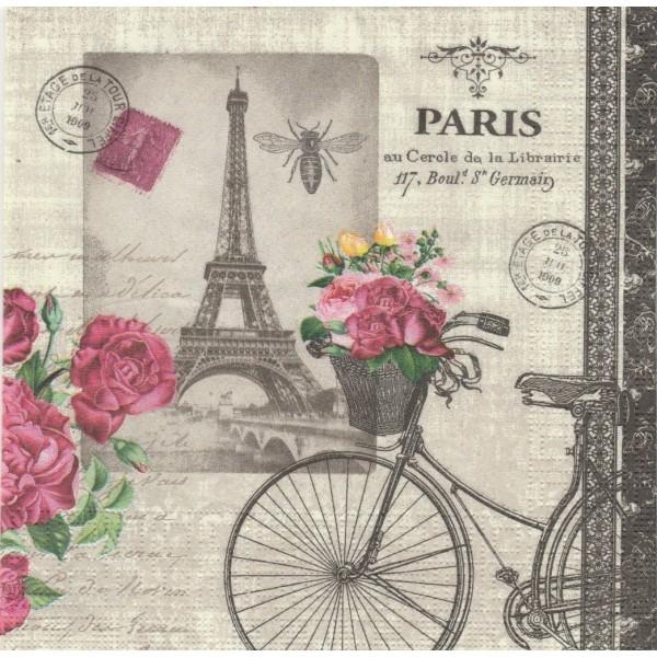 4 Serviettes en papier Vélo Parisien Format Lunch Decoupage Decopatch 133-1546 PPD - Photo n°1