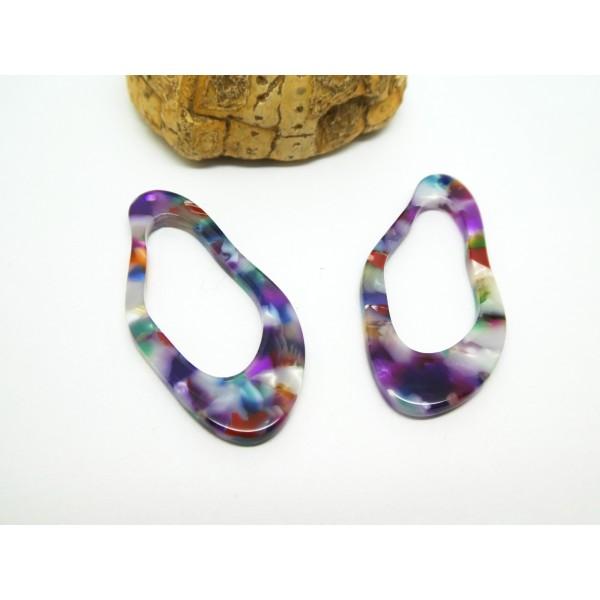 2 Pendentifs ovales irréguliers en acétate de cellulose - 41*19mm - Violet multicolore - Photo n°1