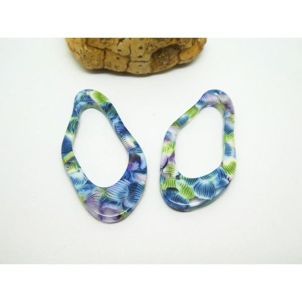 2 Pendentifs ovales irréguliers en acétate de cellulose imprimé fleurs - 41*19mm - Bleu - Photo n°1