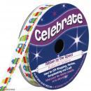 Ruban satin Celebrate - Jouets sur fond blanc - 10 mm x 3 m - Photo n°1