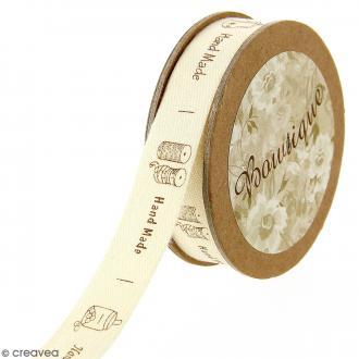 Ruban coton Celebrate - Handmade sur fond beige - 15 mm x 5 m
