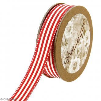 Ruban coton Celebrate - Rayures beiges et rouges - 15 mm x 5 m