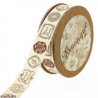 Ruban coton Celebrate - Boutons et étiquettes sur fond beige - 15 mm x 5 m