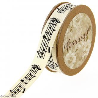 Ruban coton Celebrate - Partitions de musique fond beige - 15 mm x 5 m