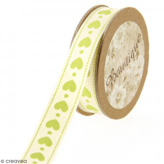 Ruban coton Celebrate - Coeurs verts sur fond beige - 15 mm x 5 m