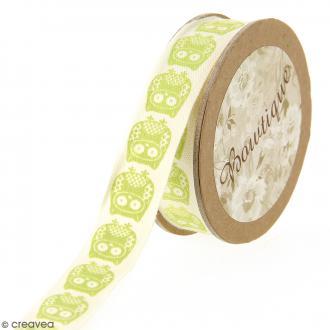 Ruban coton Celebrate - Hiboux verts sur fond beige - 15 mm x 5 m