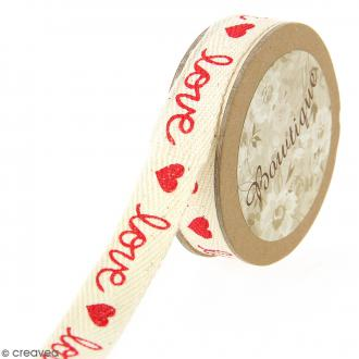 Ruban coton Celebrate - Coeurs Love sur fond beige - 15 mm x 5 m