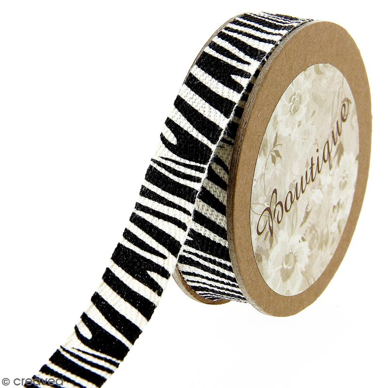 Ruban coton Celebrate - Rayures Zèbre - 15 mm x 5 m - Photo n°1