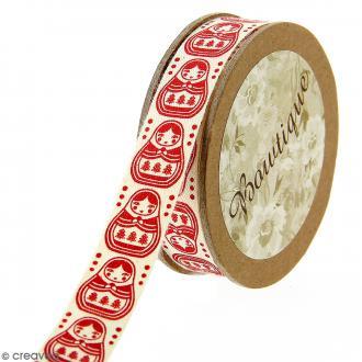 Ruban coton Celebrate - Poupées russes Matriochkas rouges - 15 mm x 5 m