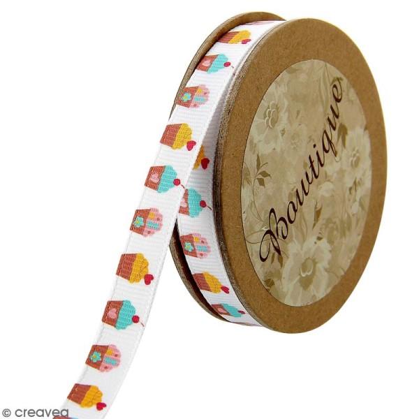 Ruban Celebrate fantaisie à gros grains - Cupcakes sur fond blanc - 10 mm x 5 m - Photo n°1