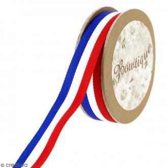 Ruban Celebrate fantaisie à gros grains - Rayures bleu blanc rouge - 20 mm x 5 m