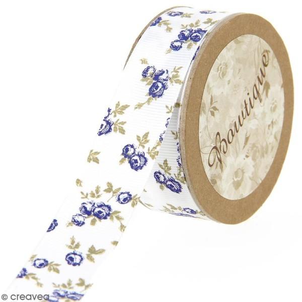 Ruban Celebrate fantaisie à gros grains - Fleurs bleues sur fond blanc - 20 mm x 5 m - Photo n°1