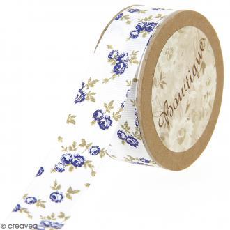 Ruban Celebrate fantaisie à gros grains - Fleurs bleues sur fond blanc - 20 mm x 5 m