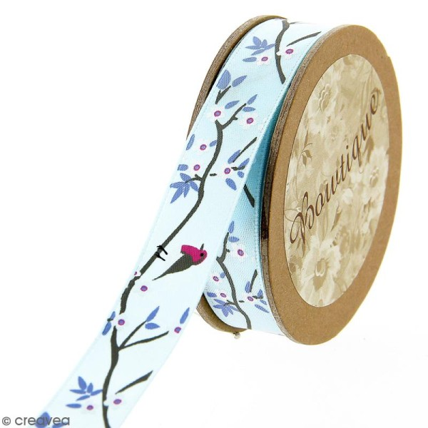 Ruban satin Celebrate - Branches fleuries sur fond bleu - 15 mm x 5 m - Photo n°1