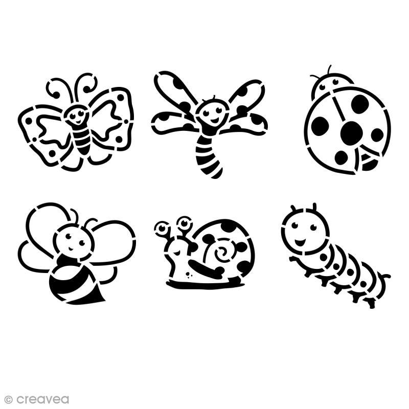 pochoir enfant insectes set de 6 pochoir enfant creavea. Black Bedroom Furniture Sets. Home Design Ideas