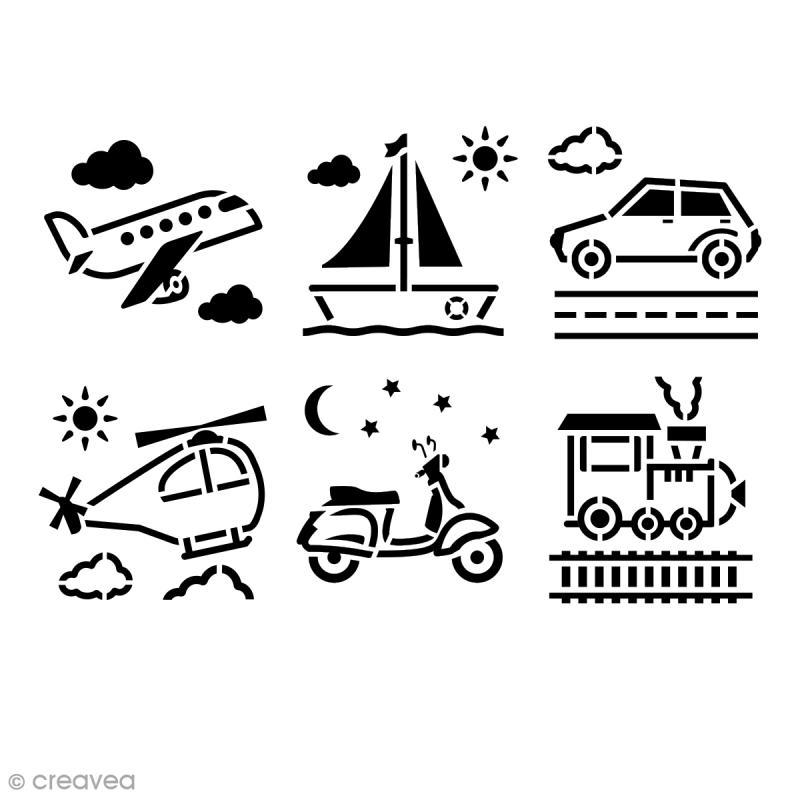 Pochoir enfant Transport - 6 pcs - Photo n°1