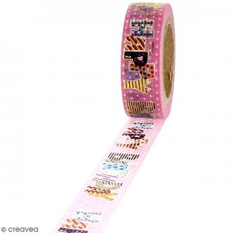 Washi Tape effet foil - Happy Birthday fond rose - 1,5 cm x 10 m
