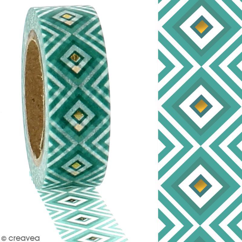 Washi Tape effet foil - Géométrique vert - 1,5 cm x 10 m - Photo n°2