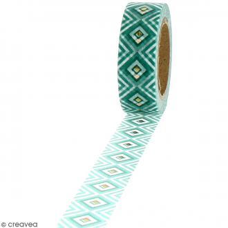 Washi Tape effet foil - Géométrique vert - 1,5 cm x 10 m