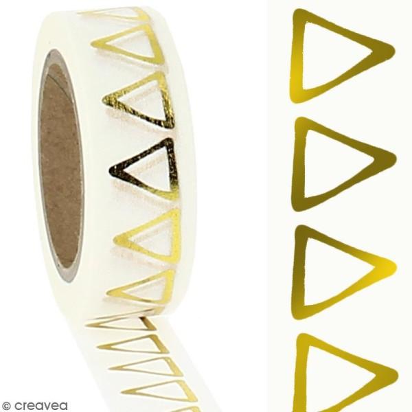 Washi Tape effet foil - Triangles dorés sur fond blanc - 1,5 cm x 10 m - Photo n°2