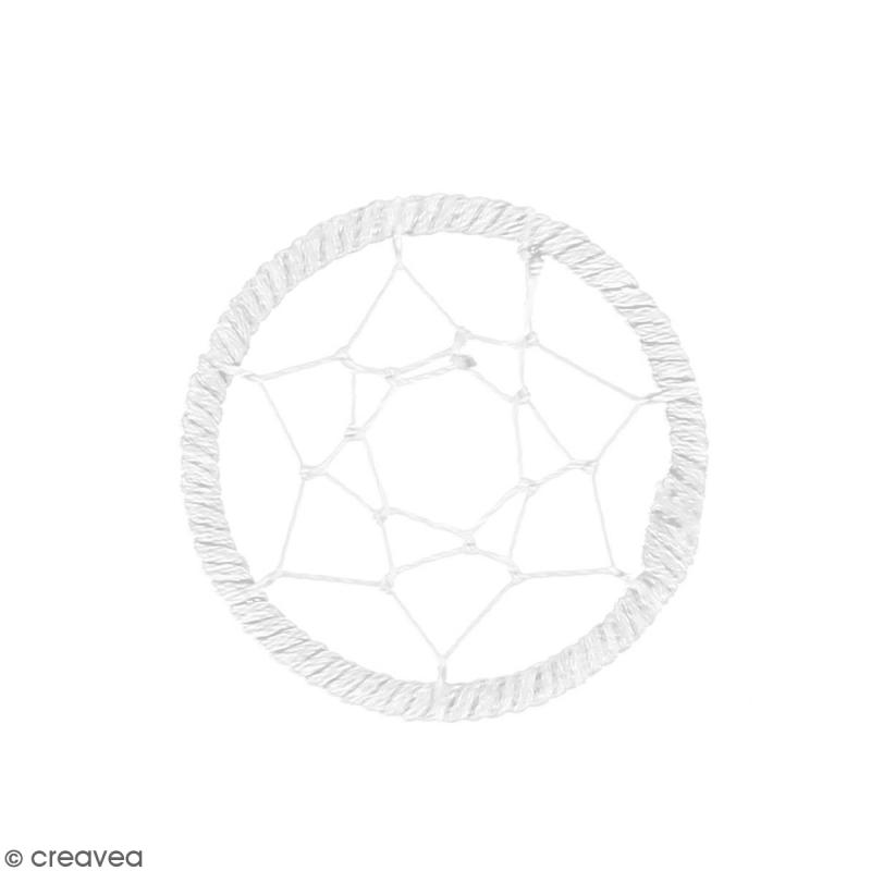 Pendentif Attrape rêves en ficelle - Blanc - 40 mm - Photo n°1