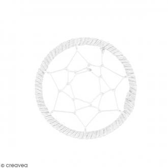 Pendentif Attrape rêves en ficelle - Blanc - 40 mm