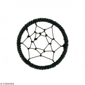 Pendentif Attrape rêves en ficelle - Noir - 40 mm
