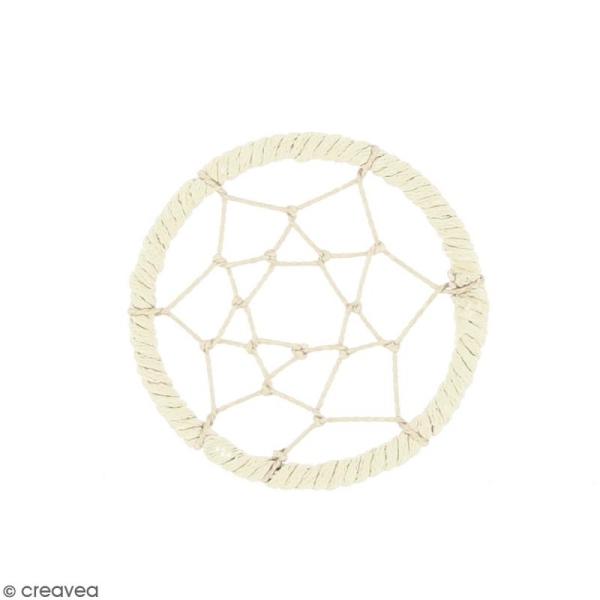 Pendentif Attrape rêves en ficelle - Blanc ivoire - 40 mm - Photo n°1