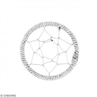 Pendentif Attrape rêves en ficelle - Gris - 40 mm