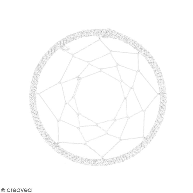 Pendentif Attrape rêves en ficelle - Blanc - 60 mm - Photo n°1