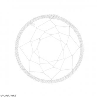 Pendentif Attrape rêves en ficelle - Blanc - 60 mm