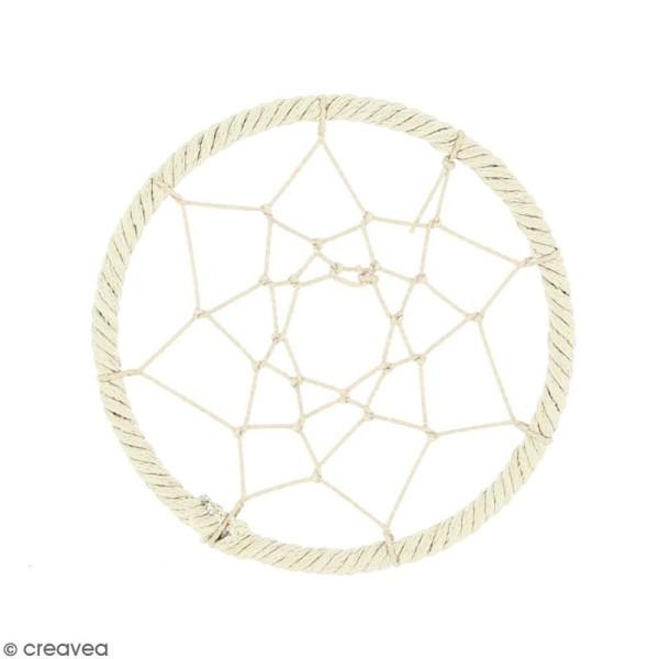 Pendentif Attrape rêves en ficelle - Blanc ivoire - 60 mm - Photo n°1