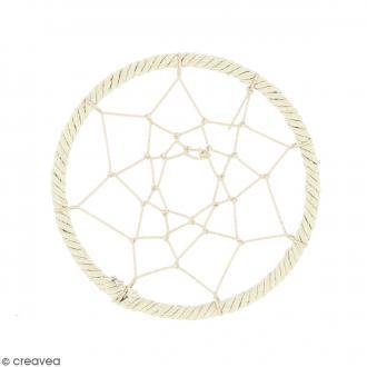 Pendentif Attrape rêves en ficelle - Blanc ivoire - 60 mm