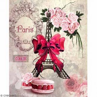 Image 3D - Macarons et Tour Eiffel - 24 x 30 cm