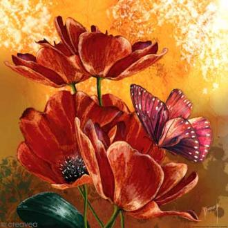 Image 3D - Coquelicots et papillon - 30 x 30 cm