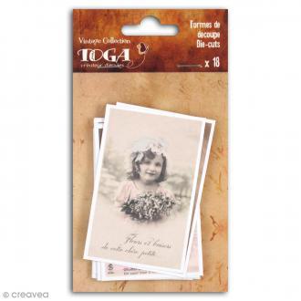 Die cut Toga - Cartes postales vintages - 18 pcs